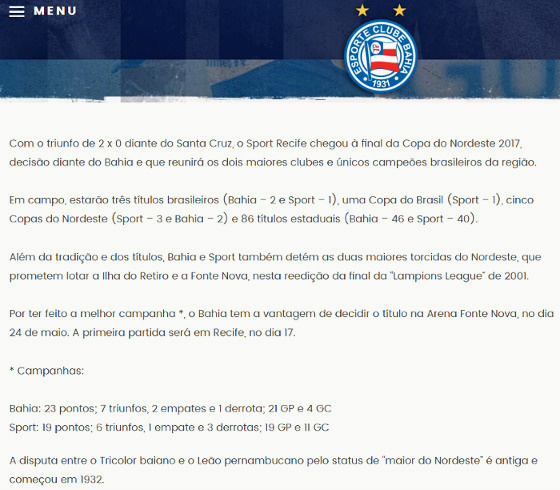 Texto do site oficial do Bahia sobre a final do Nordestão de 2017 27afe24c819f6