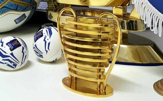 Miniatura da taça da Copa do Nordeste. Foto: Cassio Zirpoli/DP