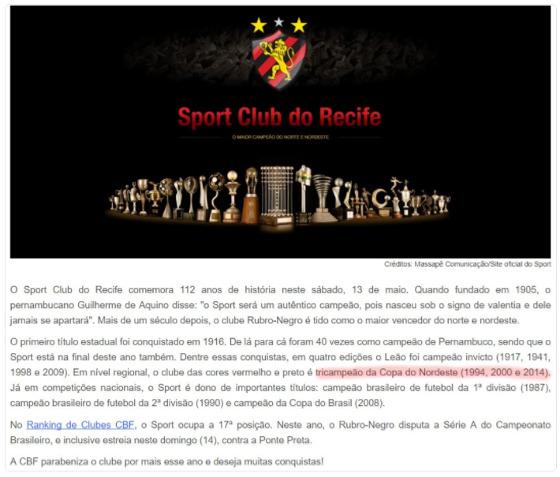 CBF dá os parabéns ao Sport pelos 112 anos. Crédito: Site da CBF/reprodução