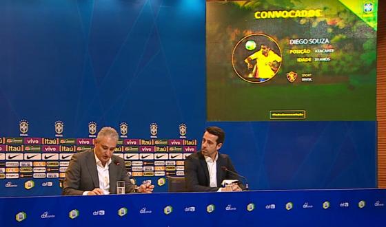 Diego Souza convocado por Tite para dois amistosos em junho de 2017. Crédito: CBF TV/reprodução