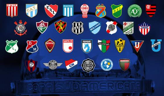 Os 32 clubes classificados à 2ª fase da Copa Sul-Americana 2017. Crédito: Conmebol/site oficial