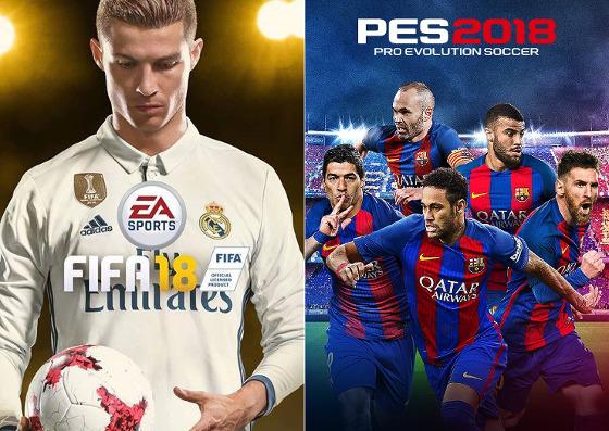 As capas dos games Fifa 18 e Pro Evolution Soccer 2018. Crédito: divulgação