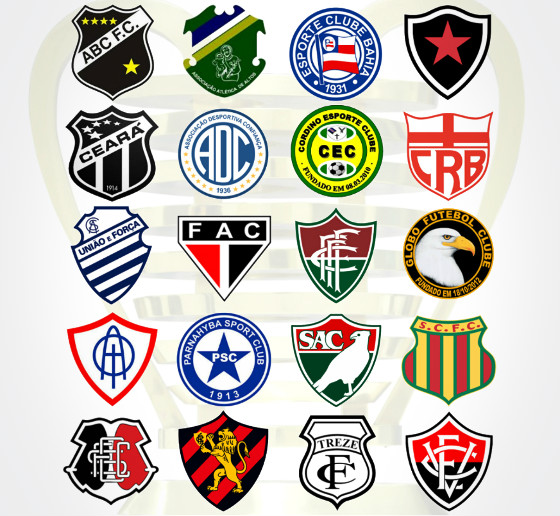 Os 20 clubes da Copa do Nordeste de 2018. Arte: Cassio Zirpoli/DP
