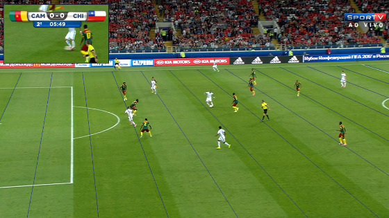 Gol anulado no jogo Camarões 0 x 2 Chile, na Copa das Confederações de 2017. Crédito: Sportv/reprodução