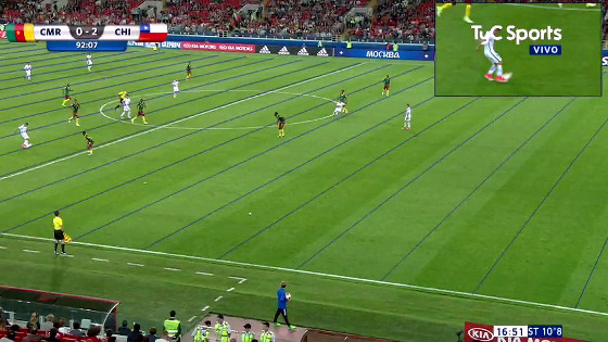 Gol validado no jogo Camarões 0 x 2 Chile, na Copa das Confederações de 2017. Crédito: TyC Sports/reprodução
