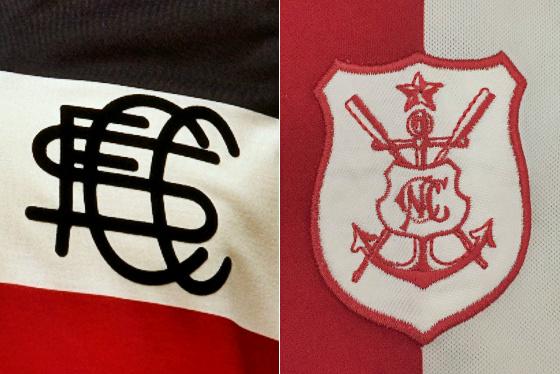 Os escudos originais de Santa Cruz e Náutico, agora em um clássico centenário...