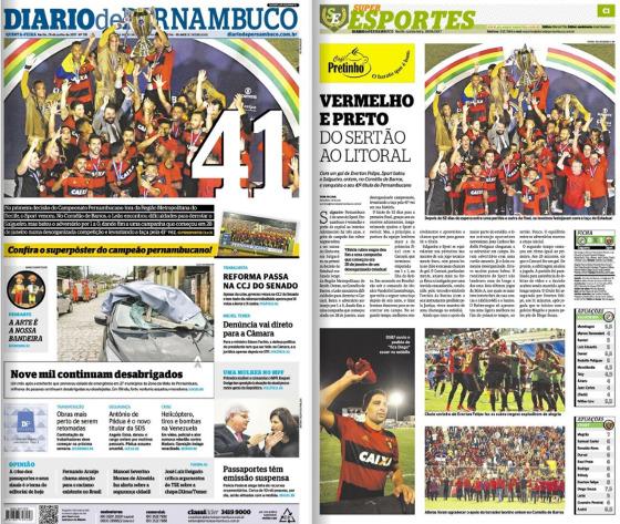 As manchetes do Diario de Pernambuco e do Superesportes sobre o 41º título pernambucano do Sport