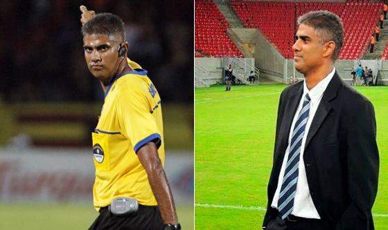 Emerson Sobral como árbitro e dirigente. Fotos: Ricardo Fernandes/DP e FPF/divulgação