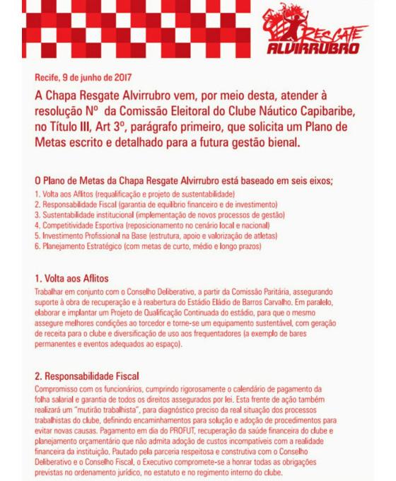 """O plano de metas da chapa """"Resgate Alvirrubro"""", eleita no Náutico para o biênio 2018/2019"""