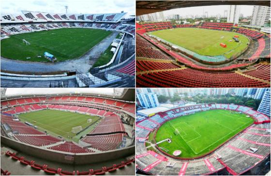 Arruda (Paulo Paiva/DP), Ilha do Retiro (Williams Aguiar/Sport), Arena Pernambuco (Rafael Ribeiro/CBF) e Aflitos (Flávio JaPa/flickr)