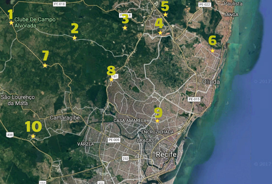 Mapa dos locais de treinamento do Santa no Grande Recife nesta década: Crédito: Cassio Zirpoli, via Google Maps/Pixler Express