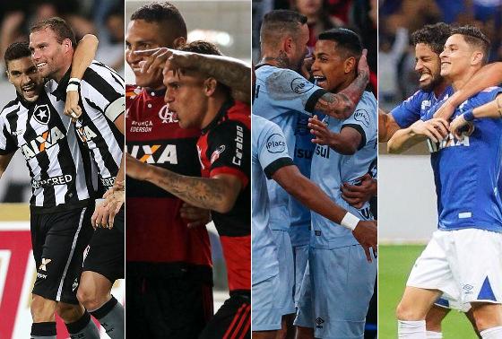 Os semifinalistas da Copa do Brasil 2017. Fotos: Vitor Silva/SS Press/Botafogo, Gilvan de Souza/Flamengo, Lucas Uebel/Grêmio e Vinícius Silva/Cruzeiro
