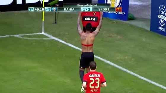 Série A 2017, 17ª rodada: Bahia 1 x 3 Sport. Foto: Premiere/reprodução