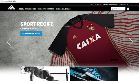 Chamada no site da Adidas