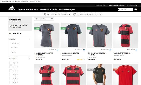 Camisas do Sport à venda no site da Adidas. Crédito: reprodução