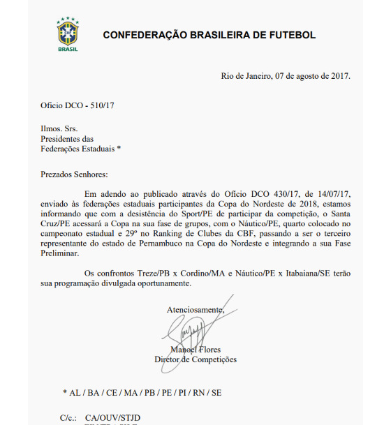 Ofício da CBF sobre a Copa do Nordeste 2018. Crédito: CBF/site oficial (reprodução)