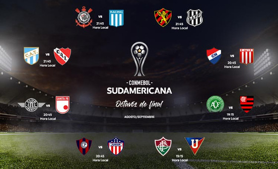 Os confrontos das oitavas de final da Copa Sul-Americana 2017. Crédito: Conmebol/site oficial