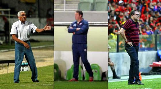 Os técnicos Givanildo Oliveira (Santa 1 x 2 Criciúma, Peu Ricardo/DP), Roberto Fernandes (América 1 x 0 Náutico, Juarez Rodrigues/EM/D.A press) e Luxemburgo (Sport 0 x 0 Ponte, Peu Ricardo/DP)