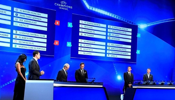 Sorteio da fase de grupos da Champions League 2017/2018. Foto: site oficial da Uefa