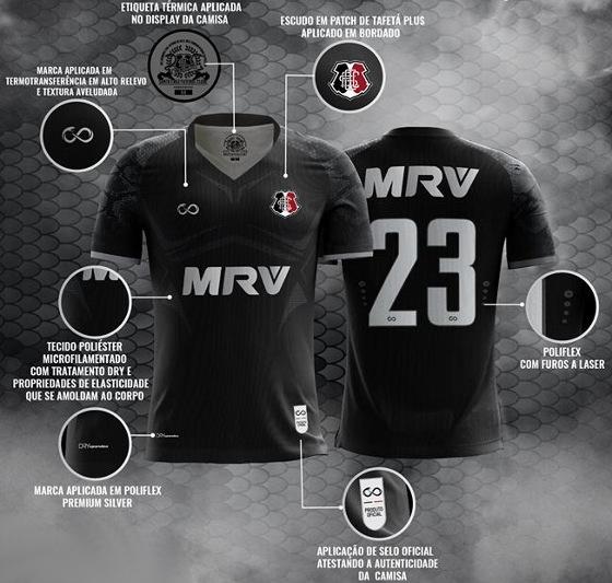 O uniforme III do Santa Cruz para a temporada 2017/2018. Crédito: Loja Cobra Coral/reprodução