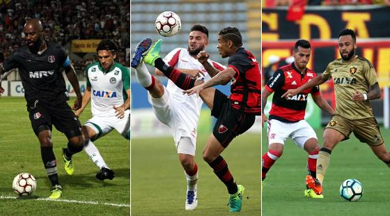 Brasileiro, 24ª rodada: Santa Cruz 3 x 0 Goiás (Roberto Ramos/DP), Oeste 1 x 0 Náutico (Marcos Bezerra/Futura Press/Estadão conteúdo) e Flamengo 2 x 0 Sport (Gilvan de Souza/Flamengo)