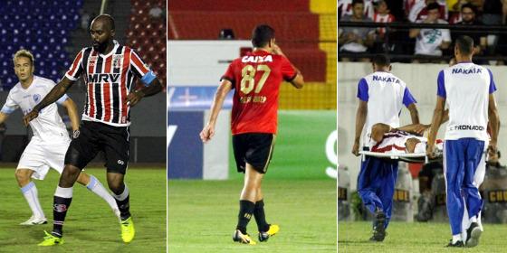 Jogos na 25ª rodada: Grafite em Londrina 1 x 1 Santa (Robson Vilela/Futura Press/Estadão conteúdo), Diego Souza em Sport 1 x 1 Vasco (Ricardo Fernandes/DP) e Breno Calixto em Náutico 0 x 1 Inter (Ricardo Fernandes/DP)