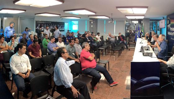 O conselho arbitral do Pernambucano 2018. Foto: FPF/twitter