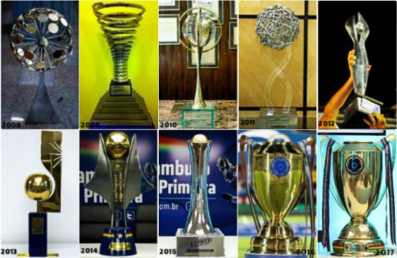 Os troféus do Campeonato Pernambucano de 2008 a 2017