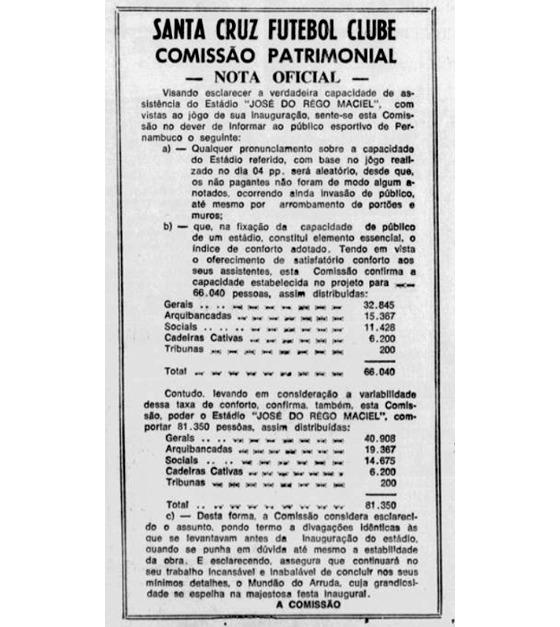 Nota oficial do Santa Cruz sobre a capacidade, publicada no Diario de Pernambuco em 07/06/1972