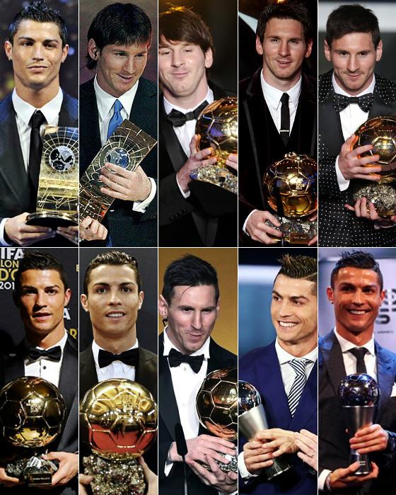 """Cristiano Ronaldo (2008, 2013,2014, 2016 e 2017) e Lionel Messi (2009, 2010,2011, 2012 e 2015) recebendo os prêmios de """"melhor jogador do mundo"""", da Fifa"""