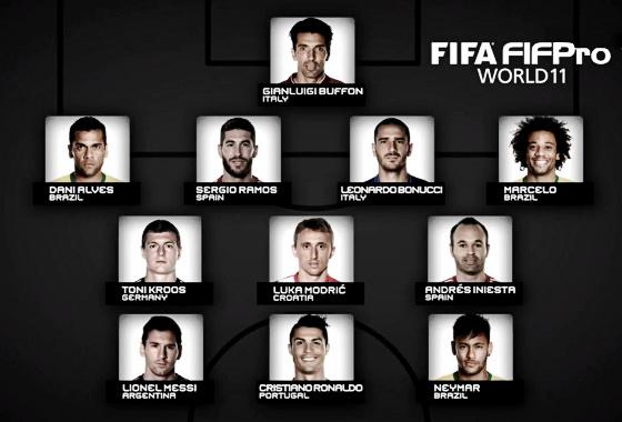 A seleção da Fifa para a temporada 2016/2017. Foto: Fifa/youtube (reprodução)