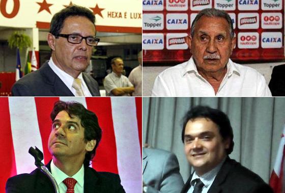 Os presidentes do Náutico no biênio 2016/2017: Marcos Freitas, Ivan Brondi, Gustavo Ventura e Ivan Pinto da Rocha. Fotos: DP e Náutico/divulgação