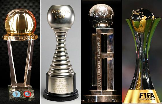 Os troféus dos campeões mundiais de clubes: Intercontinental, Copa Toyota e Mundial da Fifa (2000 e 2005-2016)