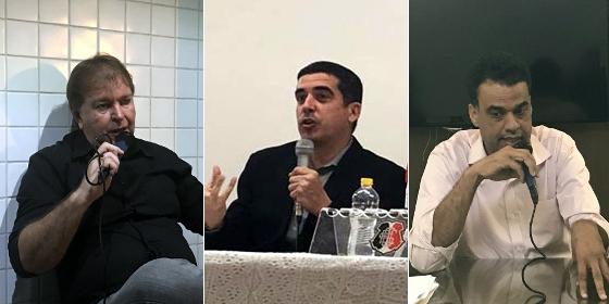 Albertino dos Anjos, Constantino Júnior e Fábio Melo, os candidatos para o triênio 2018-2020 do Santa Cruz. Fotos: Rafael Brasileiro/DP