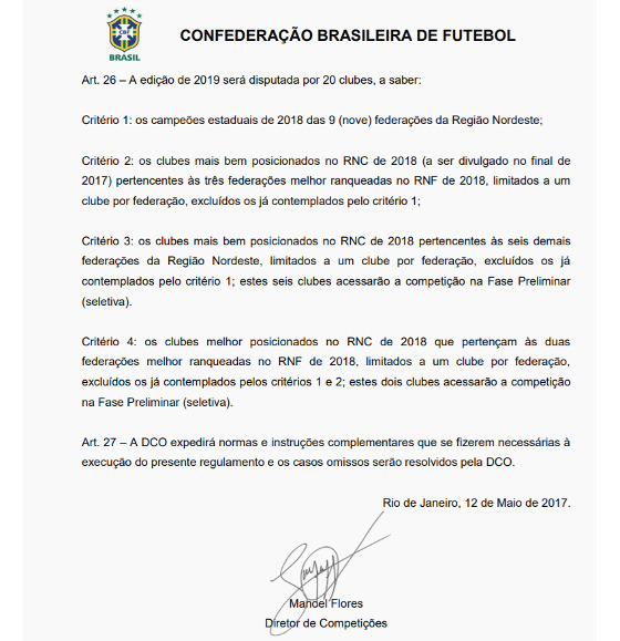 O regulamento sobre as vagas da Copa do Nordeste de 2019. Crédito: CBF/reprodução