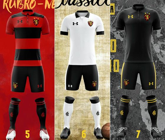 Mockups de uniformes da Under Armour no Sport. Crédito: Eduardo Silva/twitter (@eduardo__sds)