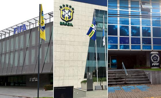 Sedes da Fifa (Zurique, Suíça), CBF (Rio de Janeiro) e FPF (Recife)