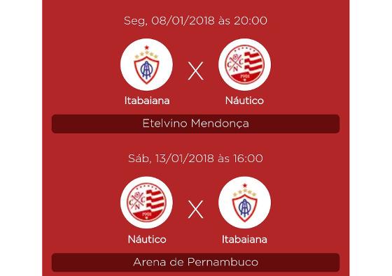 Datas de Náutico x Itabaiana, pela Copa do Nordeste 2018. Crédito: Náutico/twitter (@nauticope)