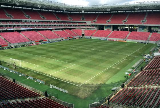 Visão interna da Arena Pernambuco, a partir do anel superior. Foto: Arena Pernambuco/twitter (@arenapernambuco)
