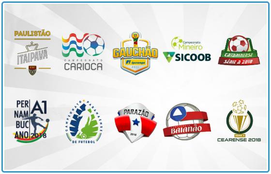 Os principais campeonatos estaduais de 2018: Paulistão, Carioca, Gaúcho, Mineiro, Catarinense, Pernambucano, Paranaense, Paraense, Baiano e Cearense. Arte: Cassio Zirpoli/DP