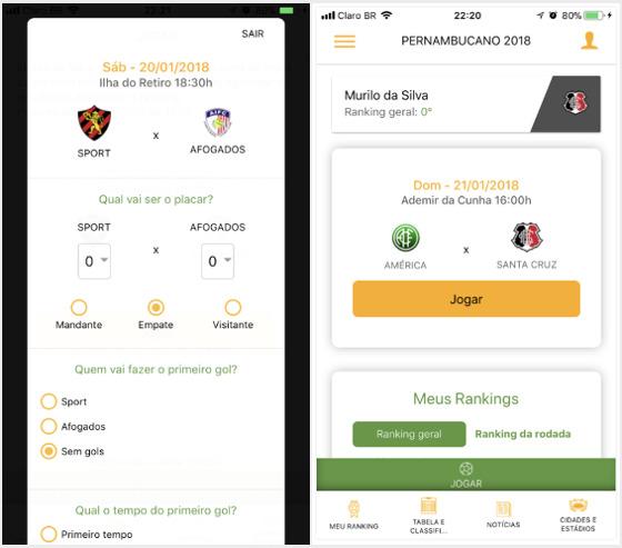O aplicativo oficial do Campeonato Pernambucano de 2017. Crédito: Google Play/reprodução
