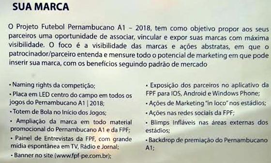O plano comercial do Pernambucano 2018. Crédito: reprodução