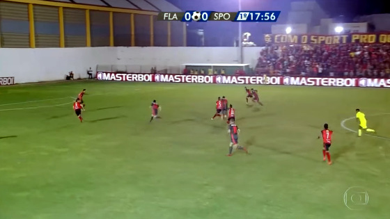 A transmissão de Flamengo de Arcoverde 0 x 0 Sport (17/01/2018) na Globo Nordeste. Crédito: reprodução