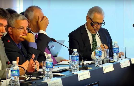 O conselho arbitral do Brasileirão de 2018. Crédito: CBF/youtube (reprodução)