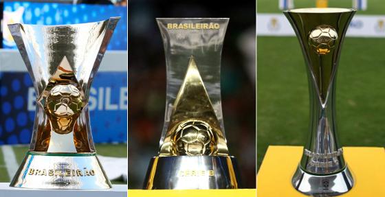 Os troféus das Séries A, B e C do Campeonato Brasileiro