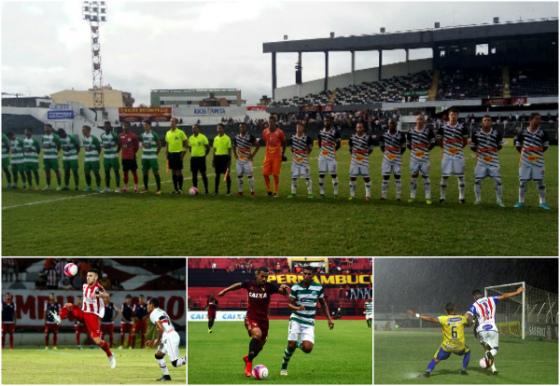Jogos da 7ª rodada do Estadual: Central 2 x 0 Belo Jardim (twitter, @centraloficial), Santa Cruz 0 x 0 Náutico (Ricardo Fernandes/DP), Sport 2 x 0 América (William Aguiar/Sport) e Afogados 2 x 1 Pesqueira (instagram, @afogadosfcoficial)