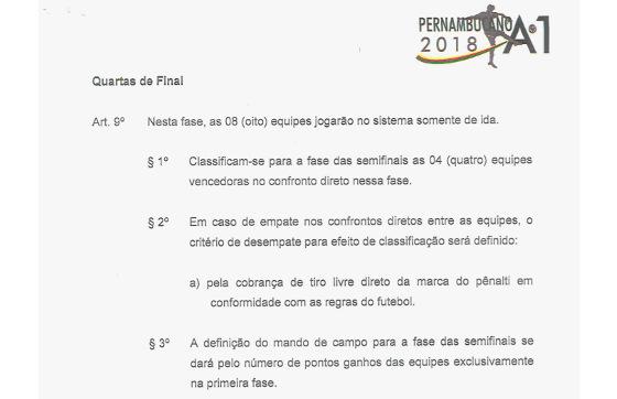 O regulamento do Pernambucano 2018 sobre as quartas de final. Crédito: FPF/reprodução