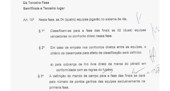 O regulamento do Pernambucano 2018 sobre a semifinal. Crédito: FPF/reprodução