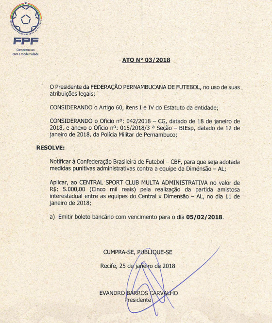 Ato da FPF multando o Central pelo amistoso contra o Dimensão Sáude
