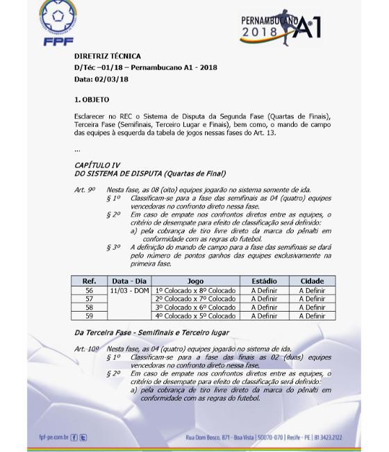 Diretriz técnica sobre o mata-mata do Campeonato Pernambucano de 2018. Crédito: FPF/reprodução